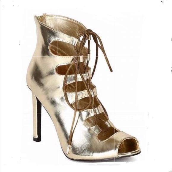 Breckelles Gold Sexy Gladiator Open Toe Heels